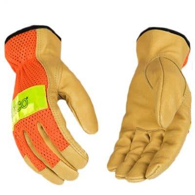 Kinco High-Visibility Orange Pigskin Gloves